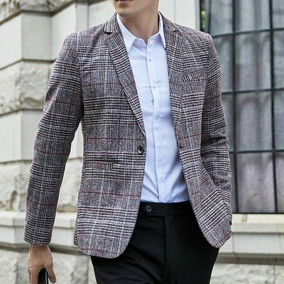 【時尚先生男裝】韓系西裝外套修身風衣外套M-5XL春秋裝韓版修身胖男士千鳥格子紋西裝單西服便西加肥加大碼 HY79