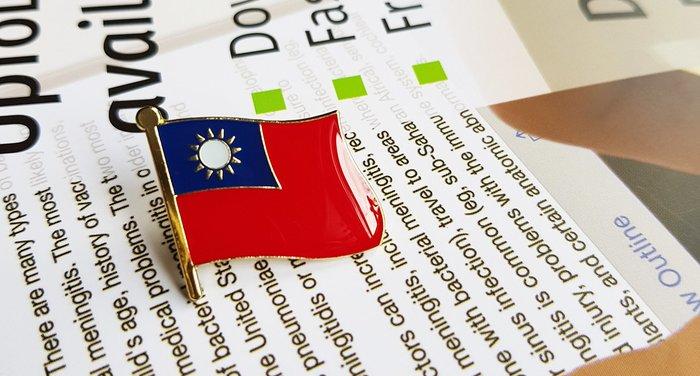 國旗徽章5入組。中華民國。台灣。徽章。胸針。別針。大尺寸別針。W2.5xH2.3公分