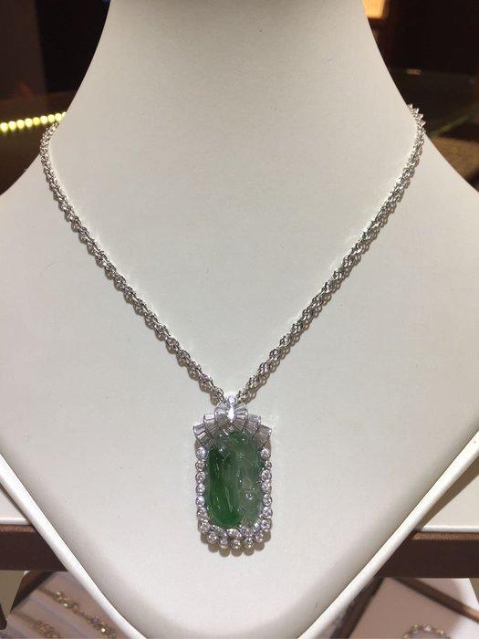 天然A貨冰種翡翠鑽石項鍊,搭配2克拉以上豪華高等級鑽石,鑑賞價176000,加送14K金鏈,水頭棒顏色冰透青綠墜台香港金