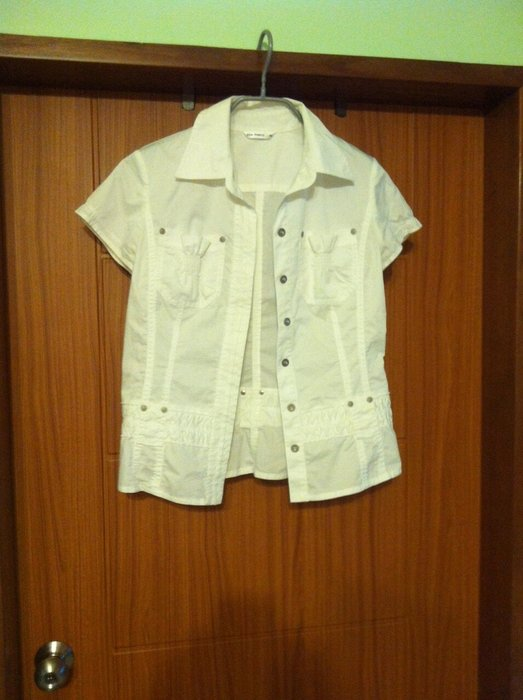 five pence白色襯衫 百貨專櫃 外套 外罩 有領襯衫 短袖襯衫