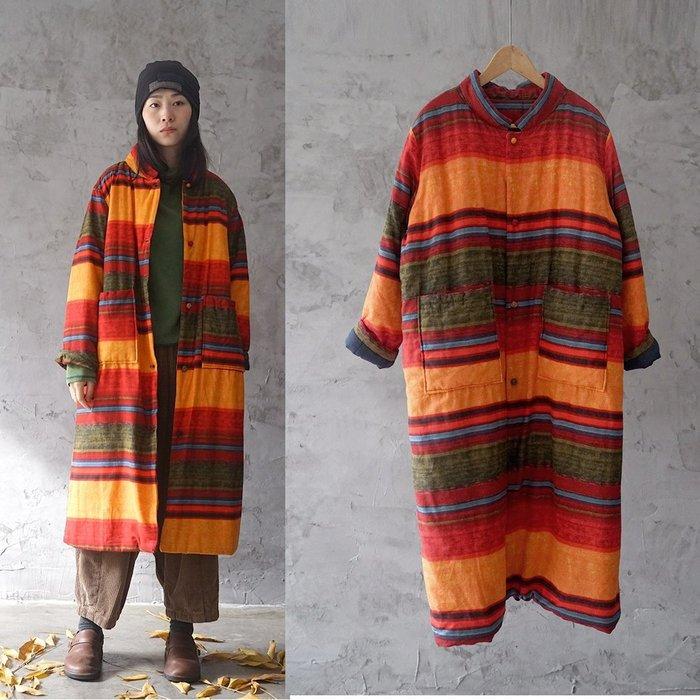 【子芸芳】中式盤扣加長加厚鋪棉大衣保暖顯瘦寬鬆
