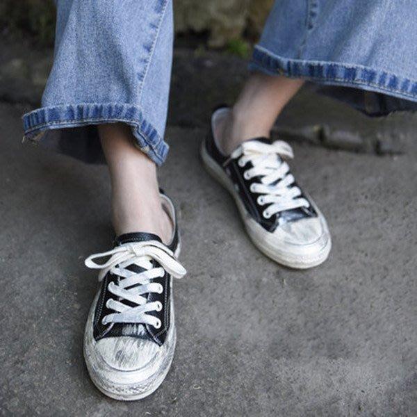 ~皮皮創~原創設計手工女鞋。真皮小髒鞋平底牛皮綁帶運動板鞋