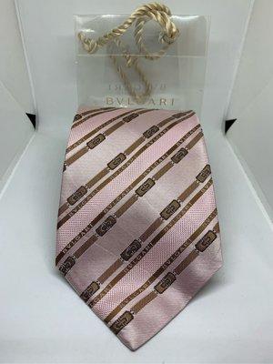 BVLGARI 寶格麗 頂級粉系領帶 新品