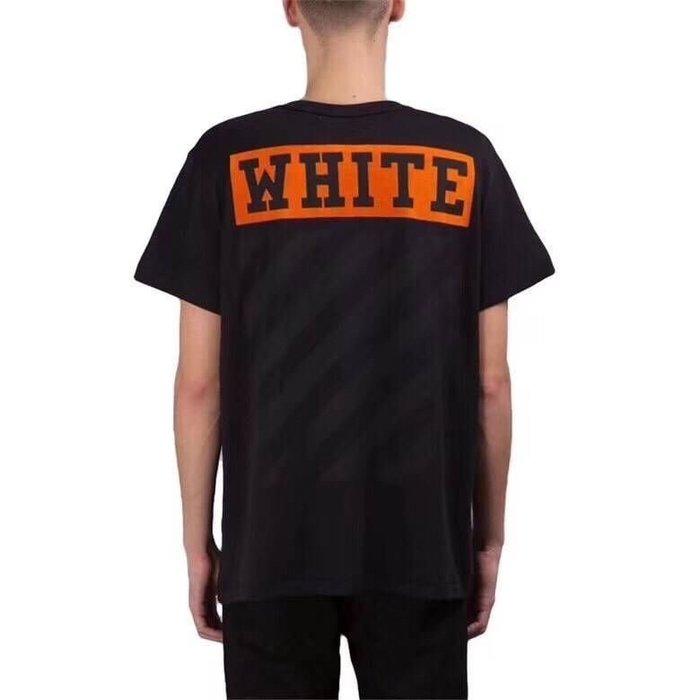 Off white 橘標黑條紋T恤 尺寸:XXS-M 我愛麋鹿 東區正品專賣店