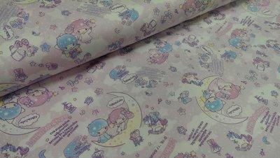 豬豬日本拼布/限量版權卡通布/雙子星月亮粉色款/牛津布厚棉布材質