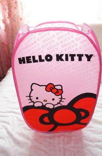 KITTY凱蒂貓個性 卡通可愛可折疊 尼龍網布臟衣籃 臟衣簍 臟衣桶