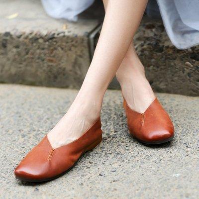 YouDo XZ 新品促銷復古原宿軟妹淺口單鞋 舒適軟底豆豆鞋百搭牛皮女鞋