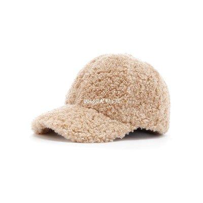 SOso炫酷帽子間韓國進口毛絨保暖女靜版棒球帽松緊帶調節鴨舌帽潮人減齡正韓ins