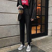 Freedom.~西裝褲女學生正韓寬松直筒ulzzang櫻田川島褲子黑色香港原宿風bf