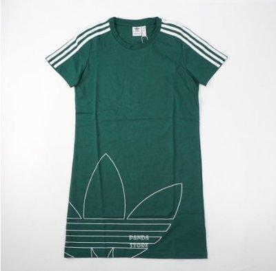 adidas 愛迪達 長版 短袖 連身裙 洋裝 gj6583 綠 女