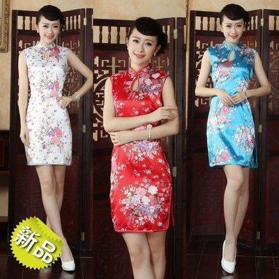 復古時尚風印花及膝旗袍 大尺碼 中國風