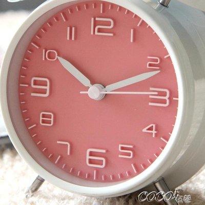 鬧鐘 超大聲音可愛金屬小鬧鐘創意靜音夜燈兒童數字學生用床頭鐘錶簡約