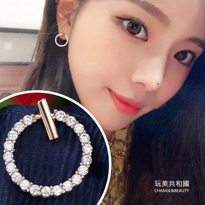 韓風S925銀針簡約鑲鑽耳環 防過敏銀針鋯石圈圈耳針【RA0129】玩美共和國