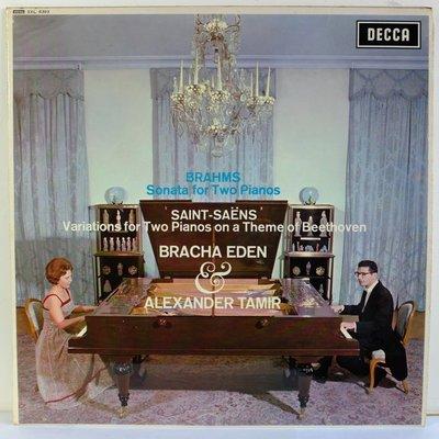 【精品黑膠】Decca 布拉姆斯 雙鋼琴奏鳴曲,聖桑 雙鋼琴變奏曲 原版黑膠 sxl 6303 WB grooved首版