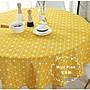 Mini Pink 宅貨舖--北歐宜家風 檸檬黃幾何三角格紋點點 圓形桌巾 直徑150cm【P083】訂製款