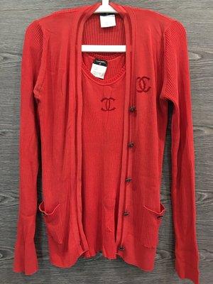 *金選名店*CHANEL*香奈兒*紅色針織兩件式上衣 40號
