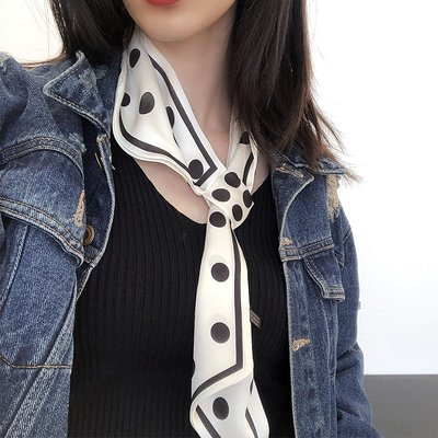 JJ mama【米】全新復古波點韓式小領巾印花帶扣氣質點綴飄帶絲巾