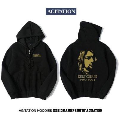 【思琪新品】Agitation潮流印花開衫拉鏈加絨衛衣搖滾音樂涅槃nirvana
