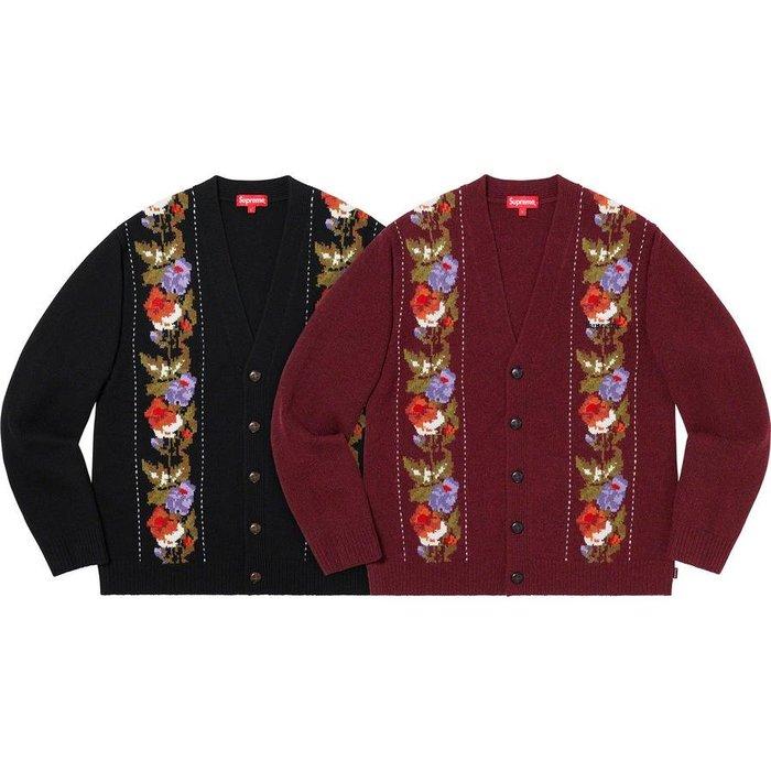 【紐約范特西】預購 FW19 Supreme Floral Stripe Cardigan 毛衣 針織衫