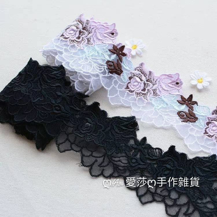 『ღIAsa 愛莎ღ手作雜貨』精美玫瑰花刺繡網紗蕾絲花邊DIY禮服裙邊裝飾輔料寬6.5cm