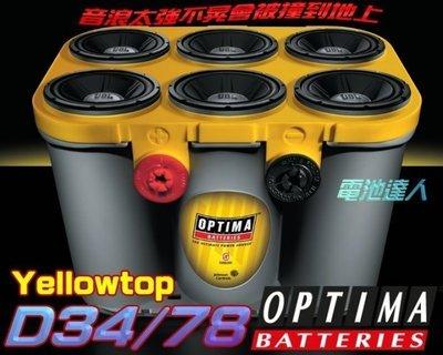 【勁承電池】OPTIMA 皇霸電池 D34/78 車用絞盤 美國 通用 汽車 凱迪拉克 雪佛蘭 別克 克萊斯勒 音響改裝