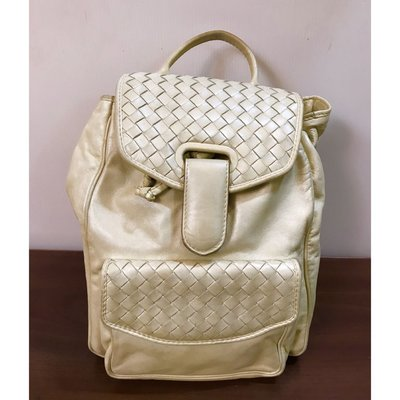 二手正品 Bottega Veneta(BV) 真皮奶油後背包