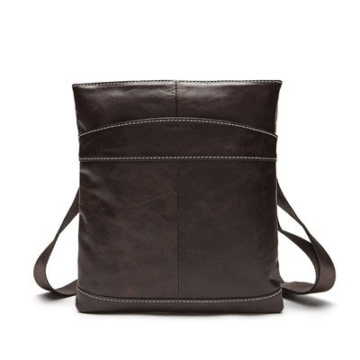 肩背包 真皮斜背包-牛皮便攜純色薄款男包包2色73ls15[獨家進口][米蘭精品]