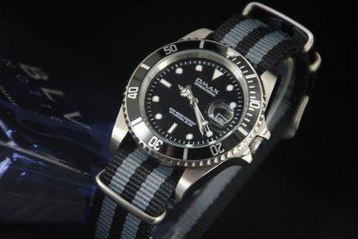 OMAX歐馬仕尚勞利仕名款黑水鬼submarine造型不鏽鋼製石英錶james bond nato錶帶