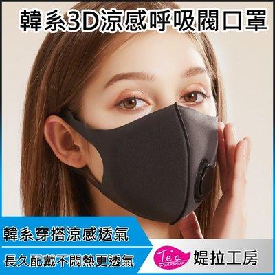 【呼吸閥升級透氣款3入】韓系3D真絲涼感透氣口罩 海綿口罩 防塵口罩 立體口罩 可水洗防污新款口罩 明星同款