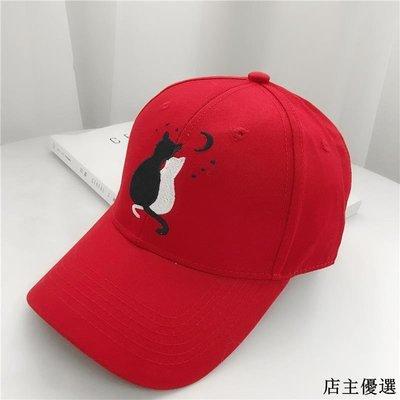 韓版街頭時尚情侶黑白貓咪刺繡棒球帽女休閑百搭鴨舌帽男遮陽帽子