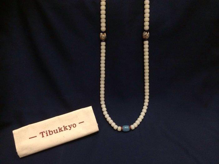 【現貨】Tibukkyo A+無高拋 白玉菩提 7x9桶珠 108顆 貝葉棕 長鏈 飾品 烤色海藍寶 手工琉璃