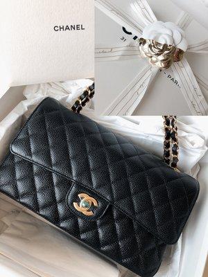 Chanel 全新COCO 25cm黑色金鍊荔枝皮 牛皮