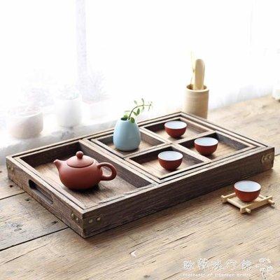 茶盤   日式實木燒桐木茶盤茶具套裝原木分割盤桌面多功能托盤YYP 『歐韓流行館』