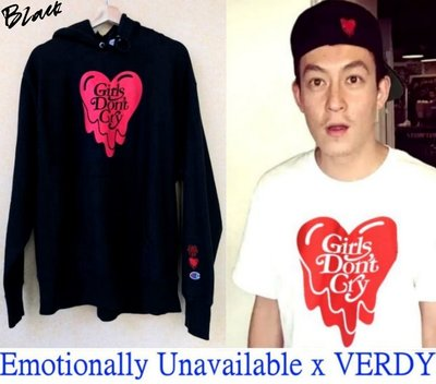 BLACK極新Emotionally Unavailable x VERDY溶解愛心GIRLS DONT CRY帽T