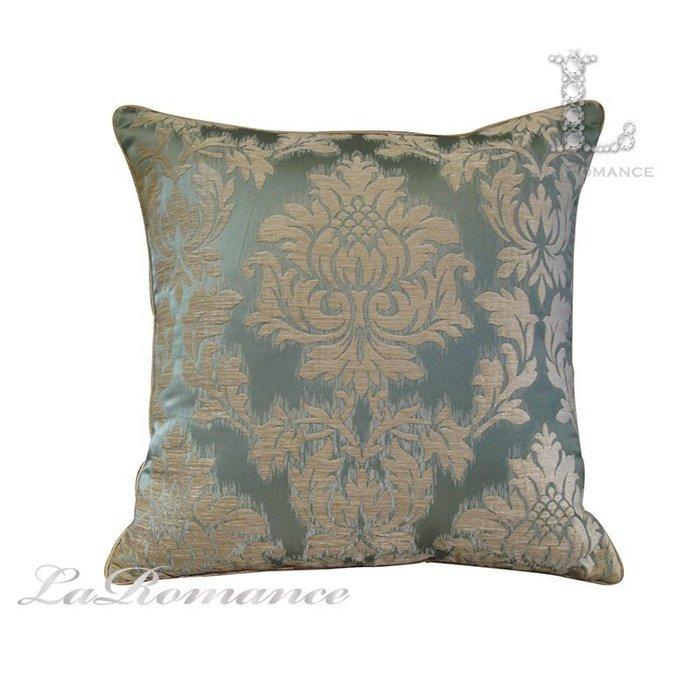 【芮洛蔓 La Romance】古典風情系列藍綠底雪尼爾緹花圖騰抱枕 / 靠枕 / 靠墊 / 方枕