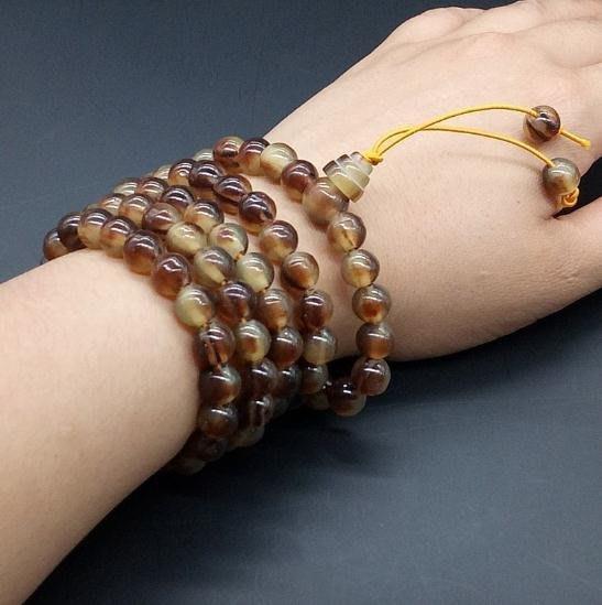 【嫚嫚】西藏天然耗牛角手串108顆手鏈純色正圓 西藏羚羊角佛珠 8mm的珠子 精美買二免運現貨