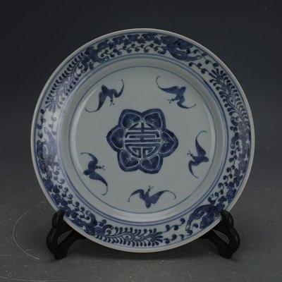 ㊣姥姥的寶藏㊣ 大清光緒手工瓷青花福壽紋瓷盤  民窯古瓷器古玩古董收藏擺件