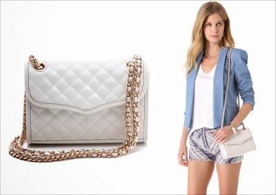 美國名牌Rebecca Minkoff Quilted Mini 新款白色皮質玫瑰金鍊肩/斜背包現貨特價$4980含郵