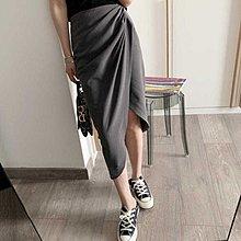 Cicigo韓國服飾 正韓 氣質優雅西裝式開叉不規則高腰包臀半身裙 裙子 2色 /KB21Y-0222-039