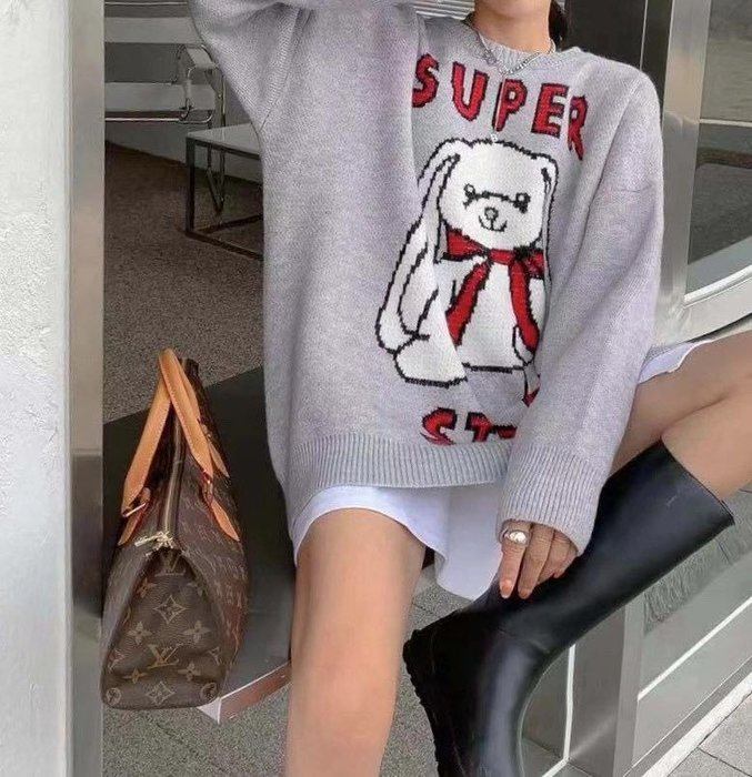 韓國 長耳兔 star 毛衣 蝴蝶結 超可愛 復古 古著 日系 毛衣 長版 寬大