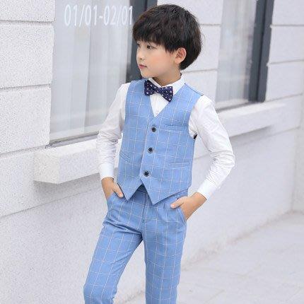 [C.M.平價精品館]170現貨/超帥氣經典淺藍格西服 含外套/長褲/襯衫 中童/大童