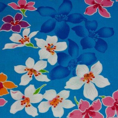 油桐花(藍色花影) 純棉花布 90cm寬 被單布/客家花布/抱枕/枕套/門簾/窗簾