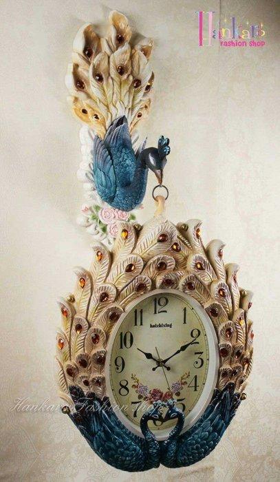 ☆[Hankaro]☆ 歐風古典孔雀動物雙面掛鐘