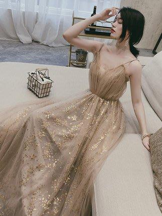 妞妞 婚紗禮服~外拍細肩帶亮片印花 名媛公主婚紗婚紗宴會婚纱長禮服~3件免郵