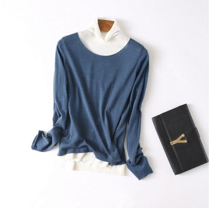 假兩件堆堆高領細薄羊毛衫(4色) 1143