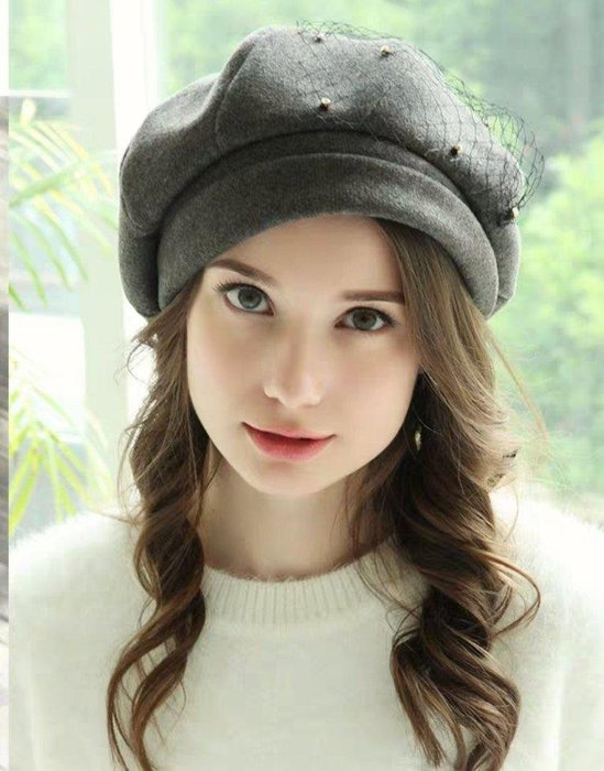 SR法式優雅羊毛網紗水鑽閃亮百搭毛呢茂 加厚保暖貝蕾帽 混咖色