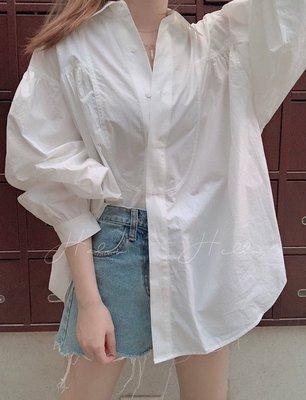【HALOO】正韓國代購連線。現貨。剪裁蓬袖白襯衫 korea sly moussy