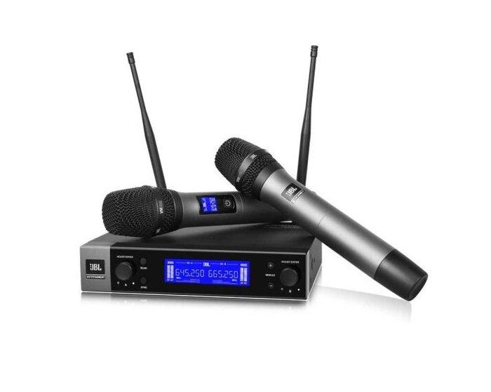 【昌明視聽】美國 JBL VM200 自動掃頻 雙通道UHF 附二支無線麥克風 金屬管身 來電(店)可議價