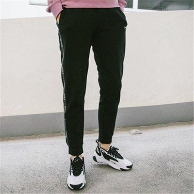 NIKE NSW PANT LOGO TAPE 棉長褲 黑色 串標 條紋 縮口 女款 運動 AR3075 011 YTS