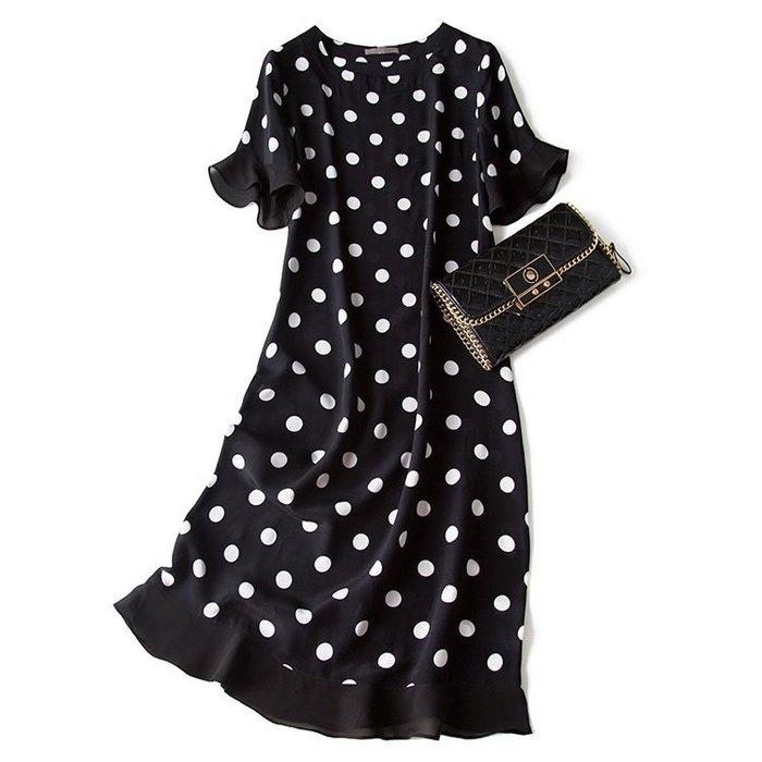 ZA151 專櫃真絲優雅知性桑蠶絲圓領連衣裙公主裙